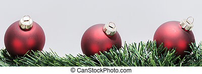 palle, natale, ghirlanda, rosso