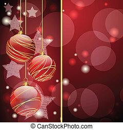 palle, natale, rosso