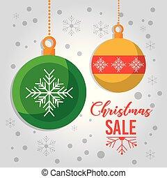 palle, offerta, manifesto, vendita, neve, decorazione, natale