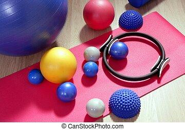 palle, pilates, intonando, stabilità, anello, rullo, stuoia...