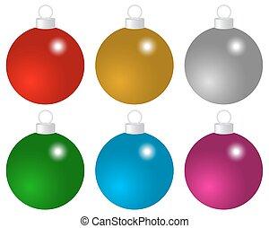 palle, set, natale, colorato