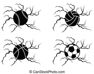palle, set, screpolatura, icone