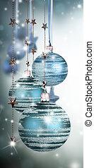 Palle, spazio, testo, libero, vetro, tema, Natale