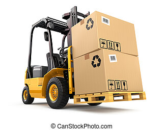 pallet., トラック, 箱, フォークリフト, cargo.