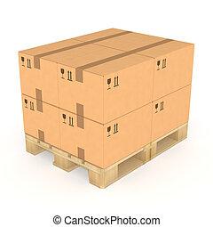pallet., 箱子, 堆