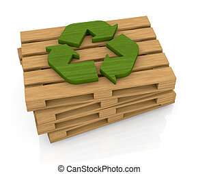 Pallet and recycle symbol - one stack of wooden pallets with...