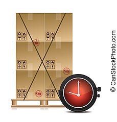 pallet and some cartons with a stopwatch