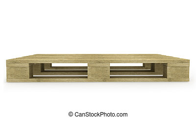 pallet, bovenkant, houten, aanzicht