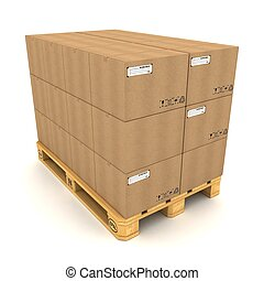 pallet, caixas, papelão, fundo branco