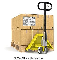 pallet camion, edi., étiquette, expédition