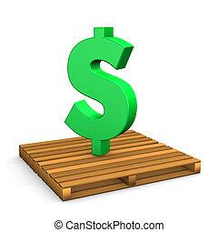 Pallet Dollar - Green dollar symbol on the pallet. White...