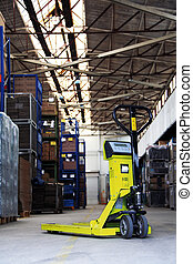 pallet jack in the industrial hall