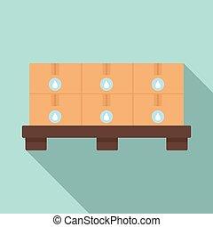 Pallet milk box icon, flat style