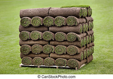 Pallet of Turf - Large pallet of rolled turf ready for ...