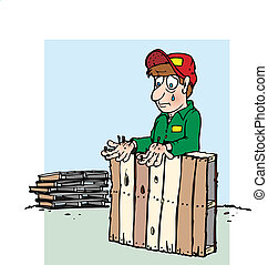 A man handling a pallet getting splinters because he's not wearing gloves