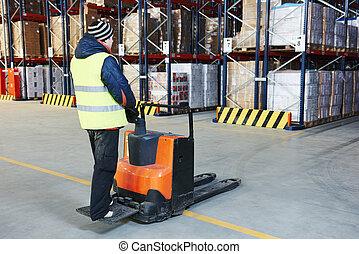 pallet, stacker, camion, a, magazzino