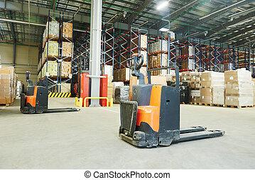pallet stacker truck at warehouse
