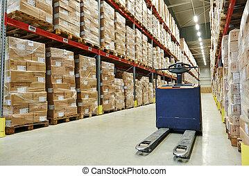 pallet stacker truck at warehouse - Manual forklift pallet...
