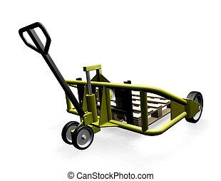 Pallet truck - 3D render of a pallet truck