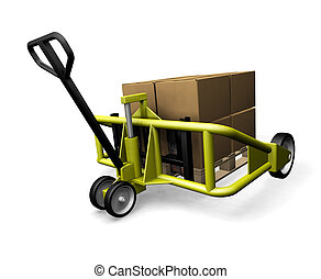Pallet truck - 3D render of a pallet truck with boxes