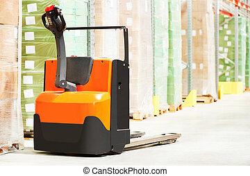 Pallet truck at warehouse