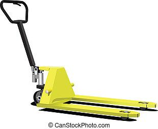 pallet, truck., forklift, giallo, mano