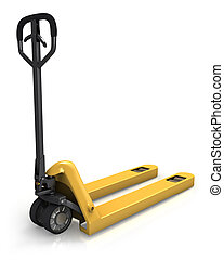 Pallet truck in perspective, rear view isolated on white...