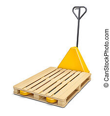 Pallet truck isolated on white - Pallet truck with wooden...