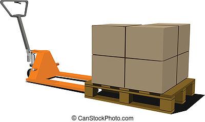 pallet, truck., scatole, mano, forkli