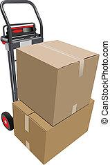 pallet, truck., scatole, vettore, mano