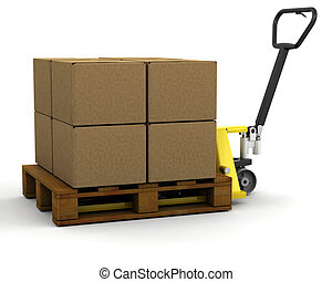 Pallet truck with boxes - 3D render of a pallet truck ...