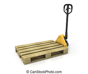 Pallet truck with empty pallet in perspective, isolated on...