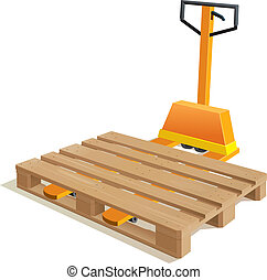 Pallet truck with wooden pallet