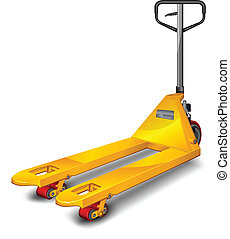 Pallet truck - Yellow pallet truck shot over white...