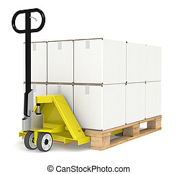 Pallet Truck/Jack and a Pallet With Cardboard Boxes. Part of...