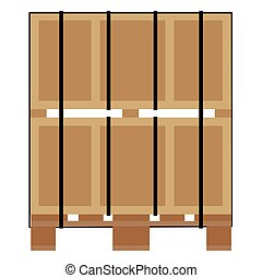 Pallet with crates - Vector illustrartion pallet for...