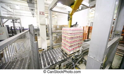 palletizing robot wraps stretch film of bottles yogurt on...