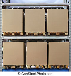 Pallets boxes - Six carboard boxes at pallets in...