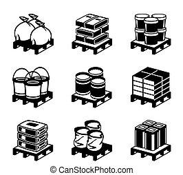 pallets, com, materiais edifício