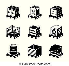 Pallets for different goods - vector illustration