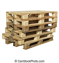 Pallets isolated - Pile of pallets isolated over white...