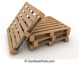 pallets, madeira, sobre, quatro, fundo, branca