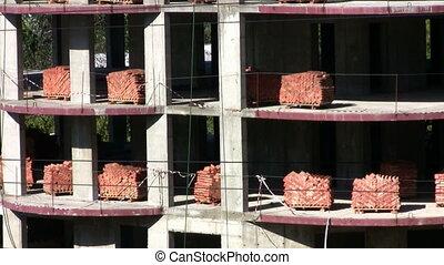 Pallets of bricks at a construction
