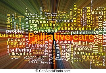 palliative, glühen, begriff, hintergrund, sorgfalt