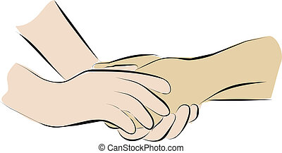 palliative, ter, cuidado, mãos