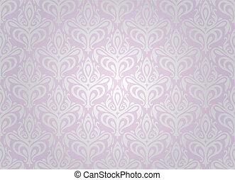 pallido, carta da parati, argento, &, rosa