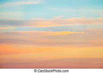 pallido, cielo tramonto, con, rosa, arancia rosso, colori