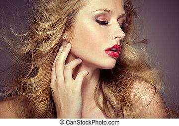 pallido, modello, carnagione, attraente, femmina
