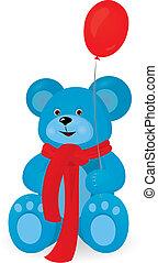 pallone blu, rosso, orso, teddy