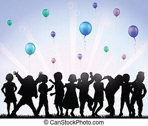 palloni, bambini, felice